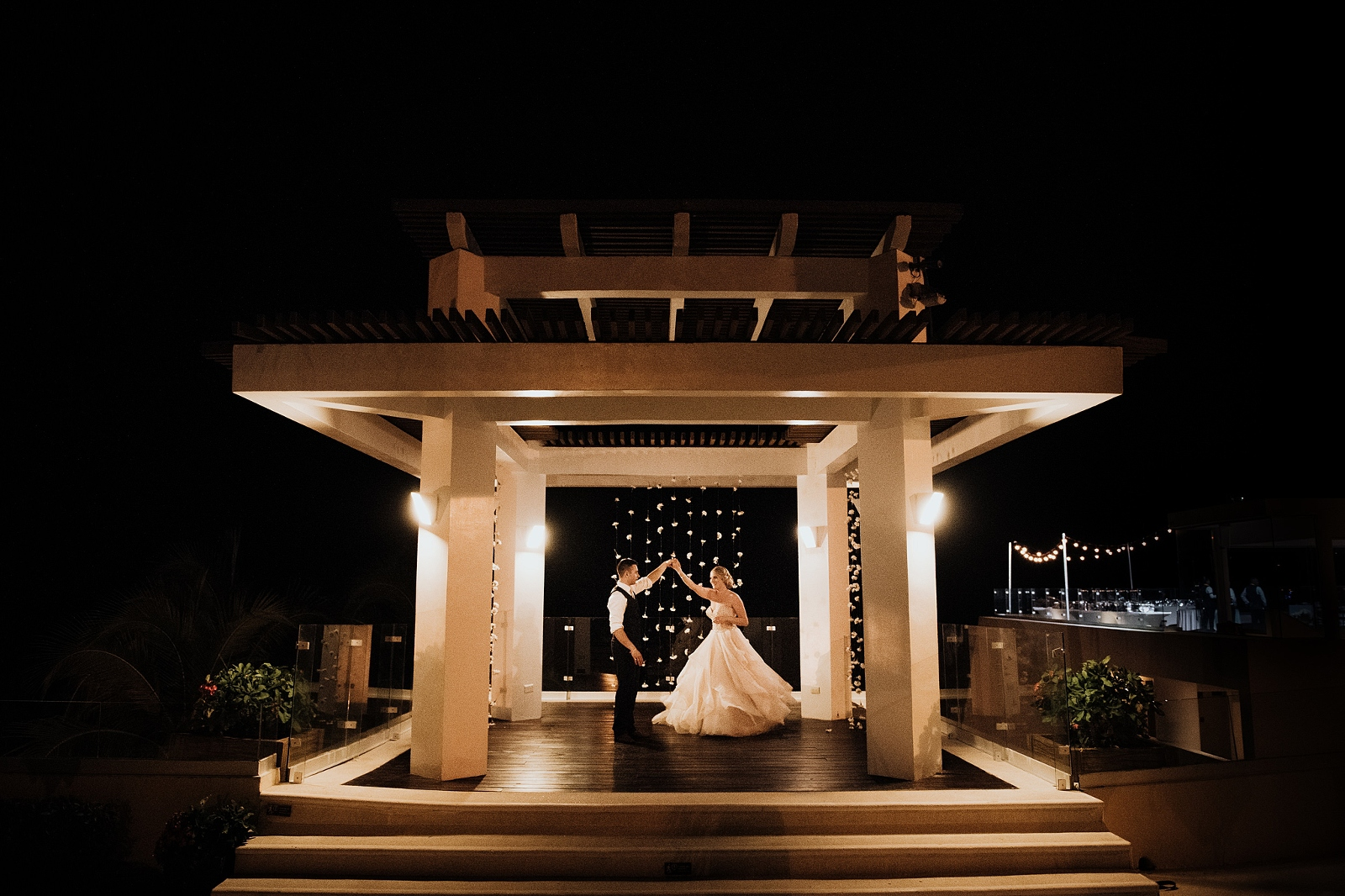 Bride and groom dancing in night shot during mexico destination wedding in Puerto vallarta iberostar playa mita