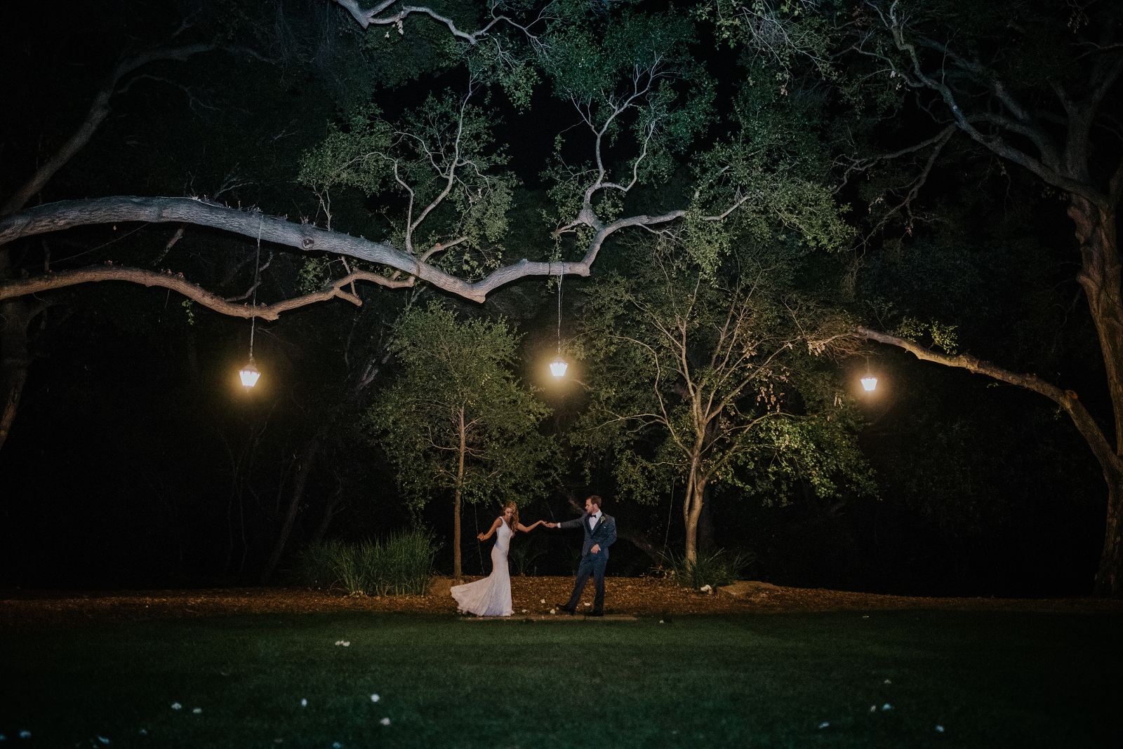 Bride and groom dancing in night shot bridal portrait at the Temecula creek inn wedding