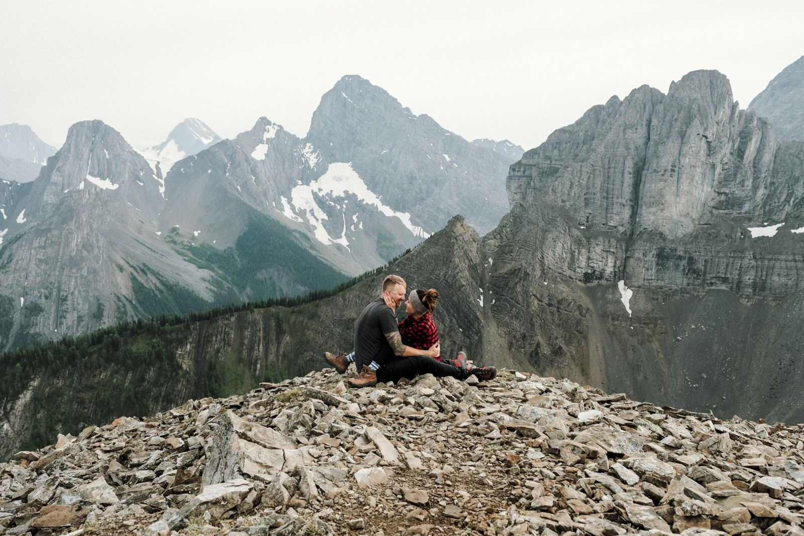 engagement photographer on top of mountain for hiking session