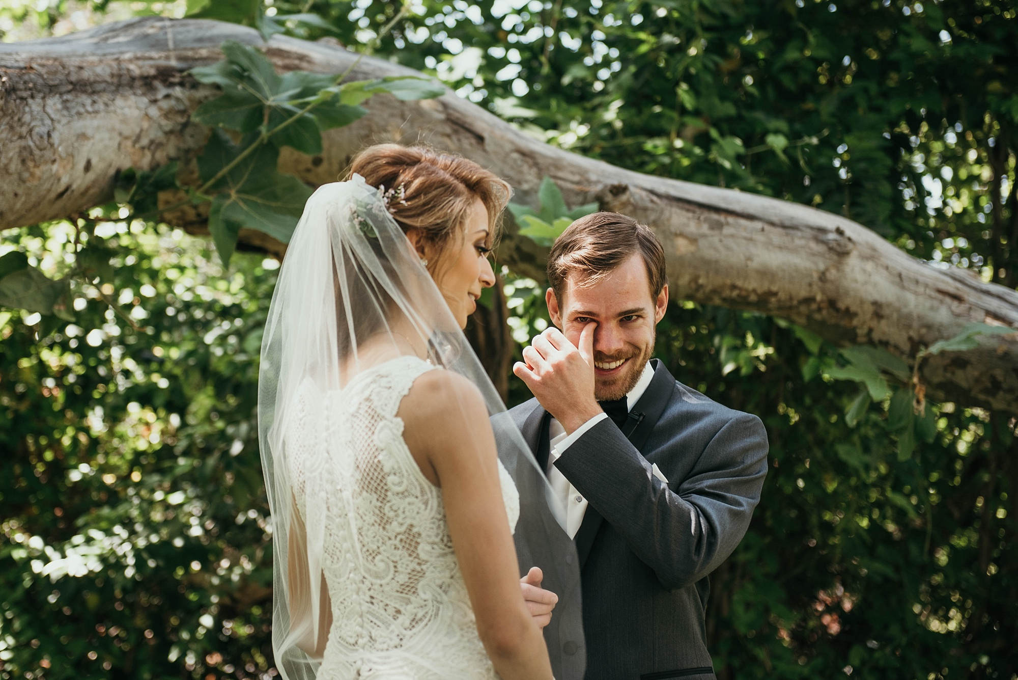 Bride and groom see each other in first look before ceremony at Temecula creek inn wedding