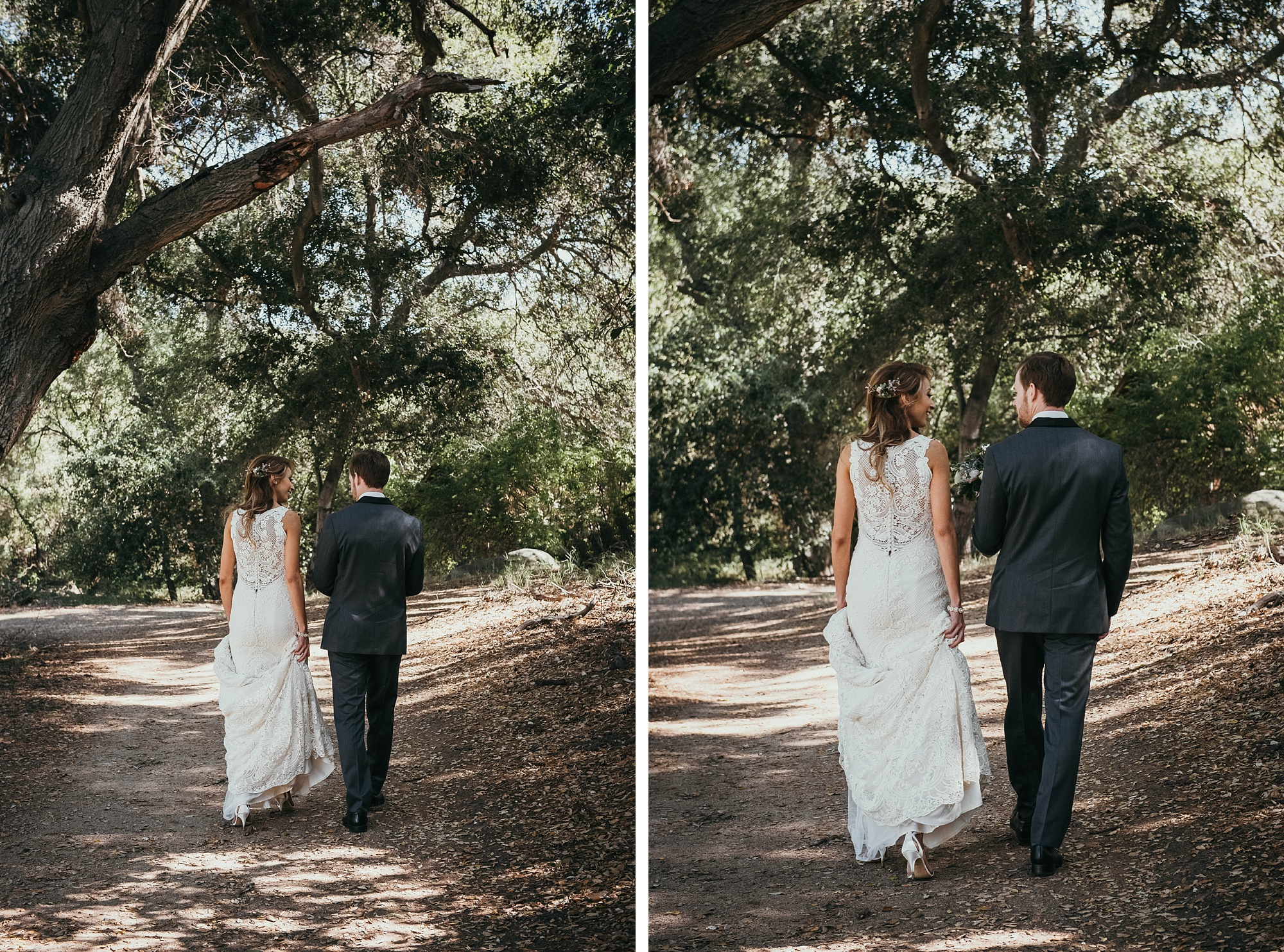 bride and groom take a walk in bridal portraits at Temecula creek inn wedding