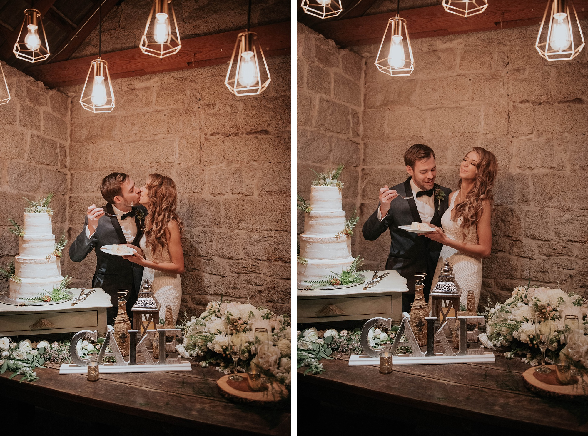 classic and modern styled bride and groom cut cake in cute stone cottage wedding