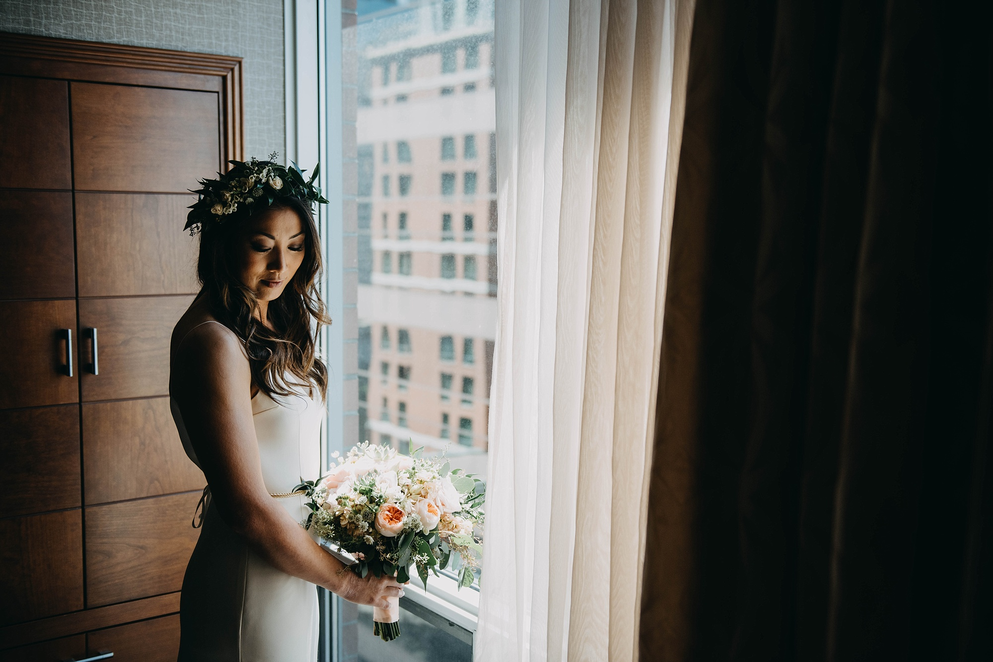 simple and elegant bridal style with flower crown portraits of bride getting ready