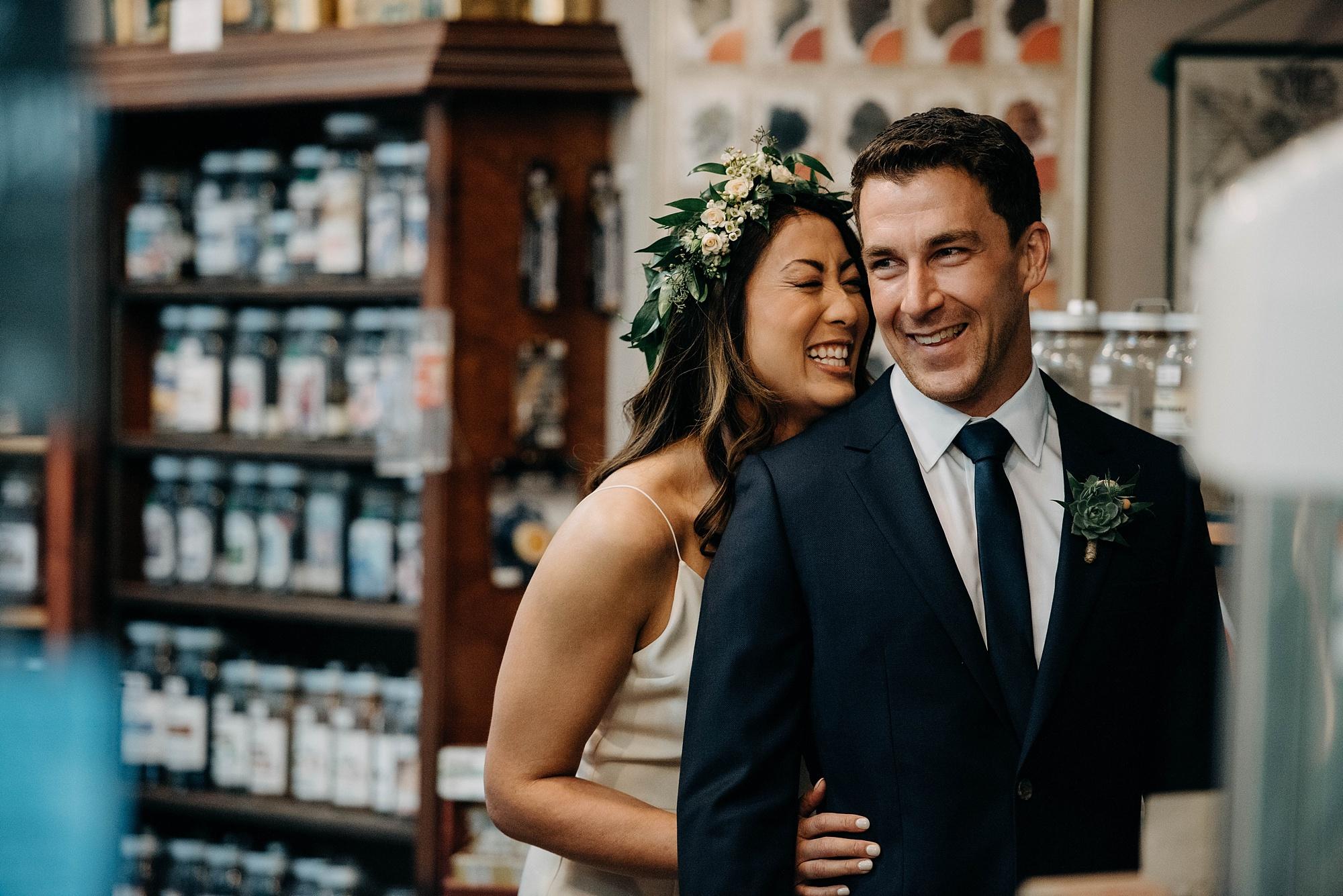 first look between bride and groom in downtown calgary wedding