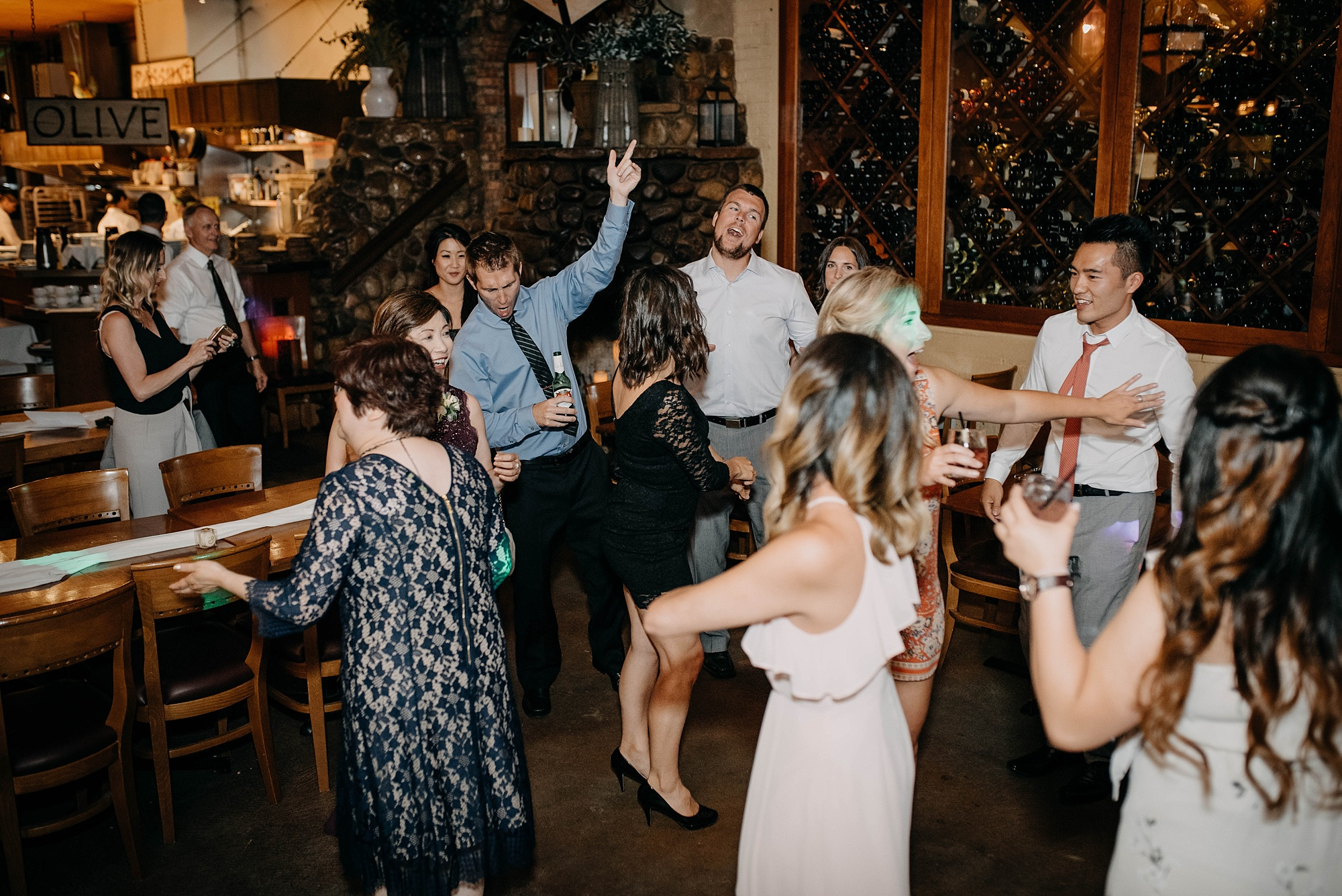 wedding guests dancing during party at bonterra wedding in calgary