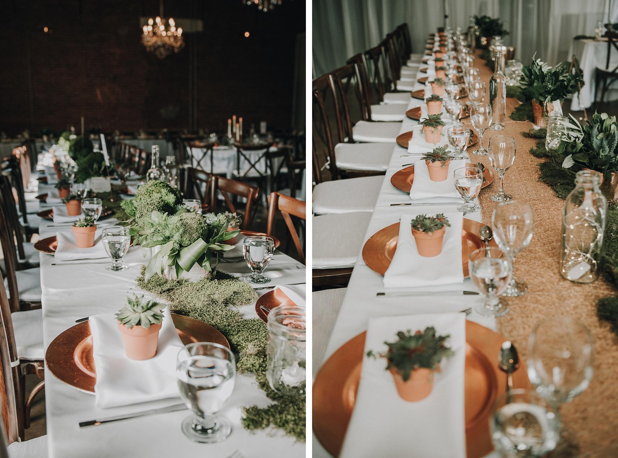 modern and elegant copper wedding reception decor at inglewood wedding