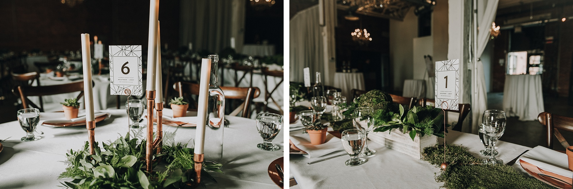 modern and elegant copper wedding reception decor at modern and industrial inglewood wedding