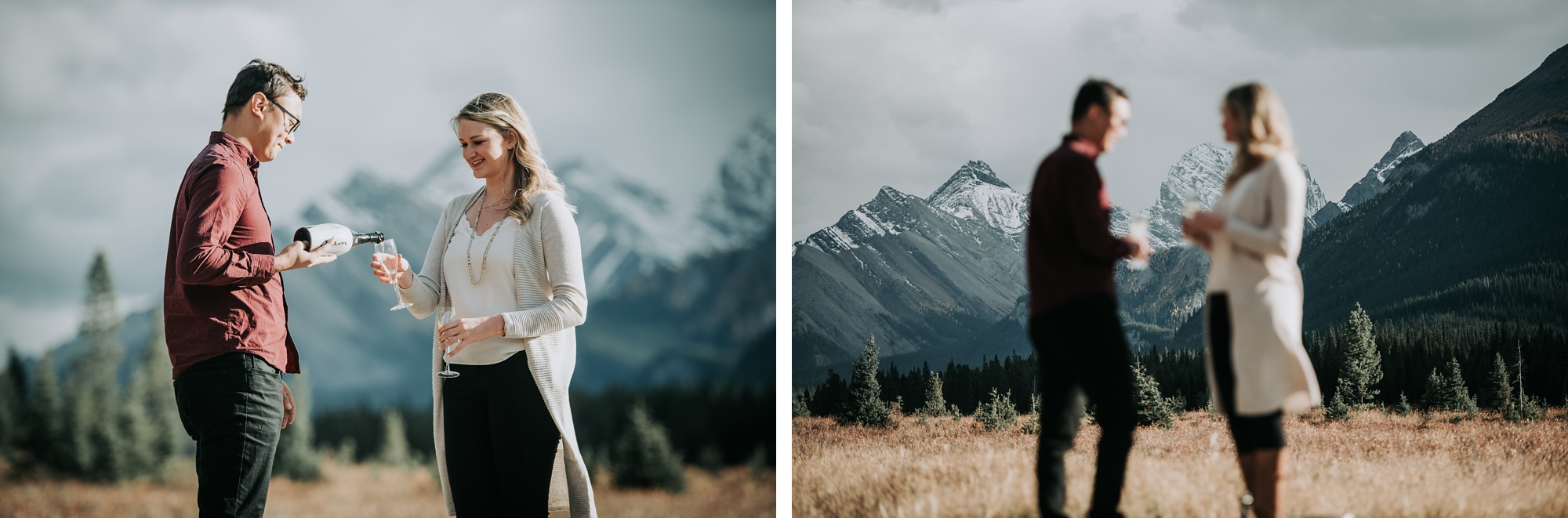 couple pop a bottle of champagne in Kananaskis engagement session
