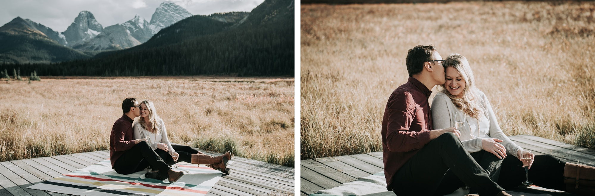 couple share a glass of Champagne in Kananaskis mountain engagement session