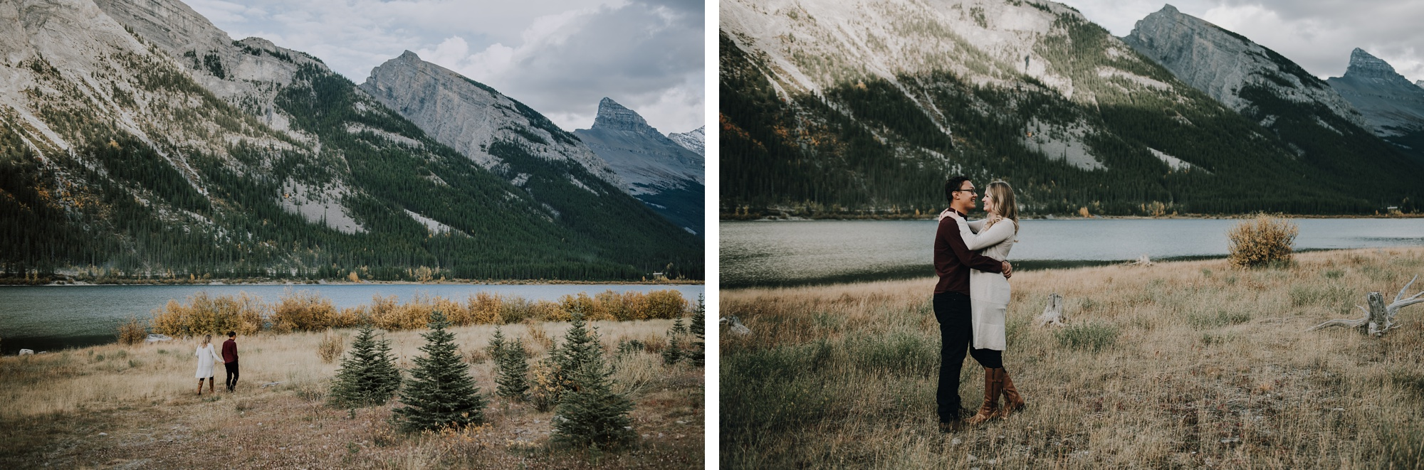 couple embrace and kiss in the mountains during Kananaskis engagement session