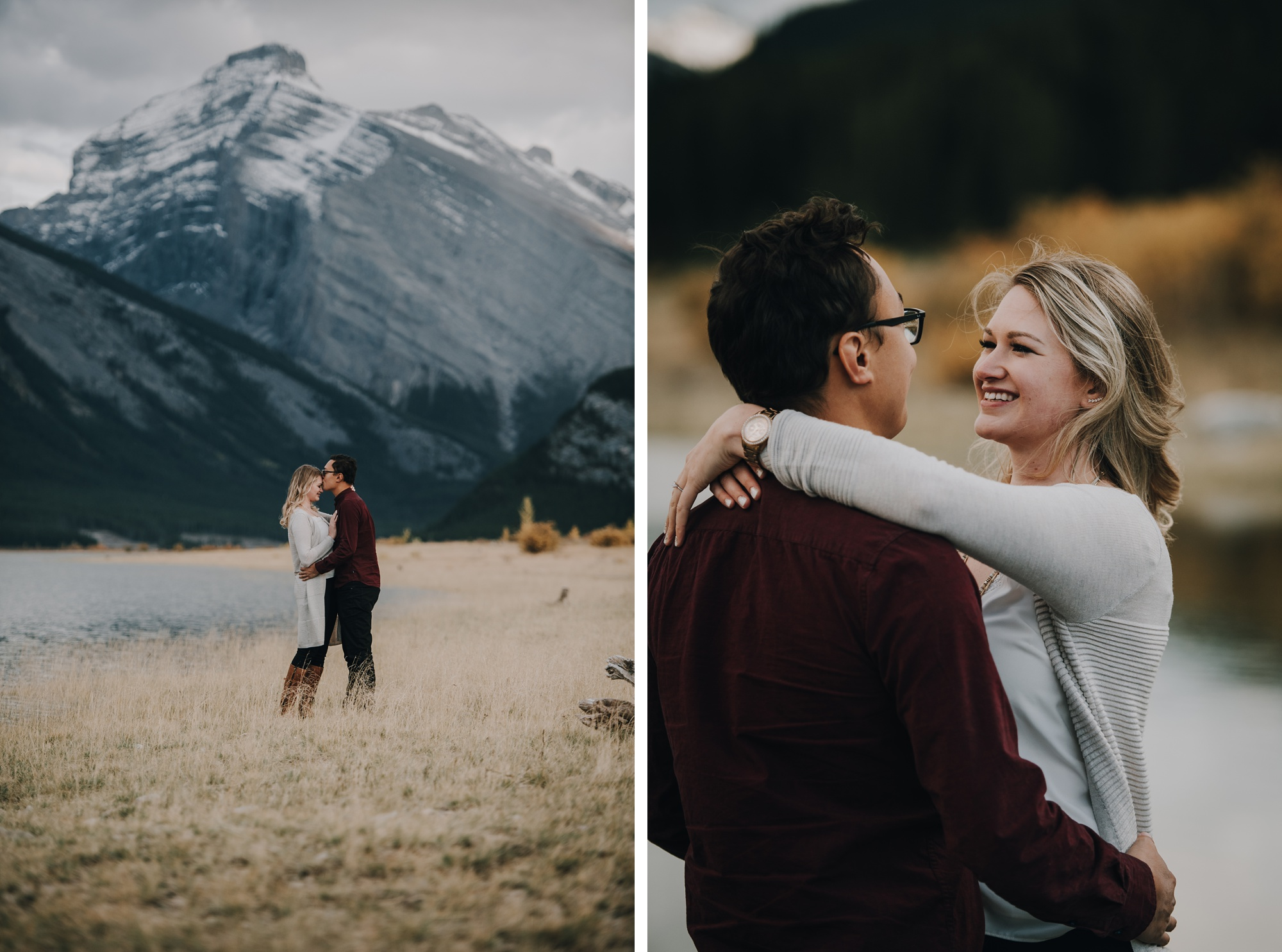 couple hugging and looking out at mountains in kananaskis