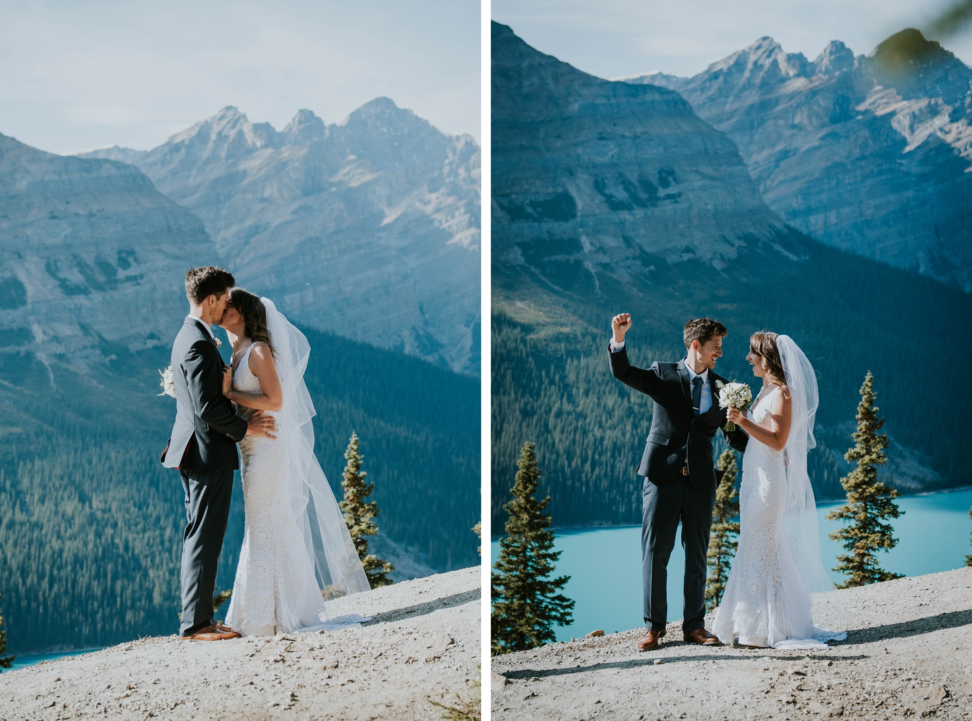bride and groom holding hands during intimate Peyto Lake elopement