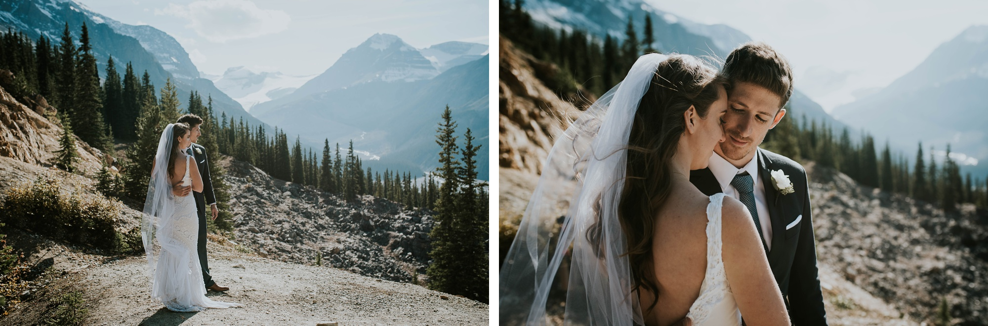 bride and groom standing out facing Peyto Lake during intimate Peyto Lake elopement
