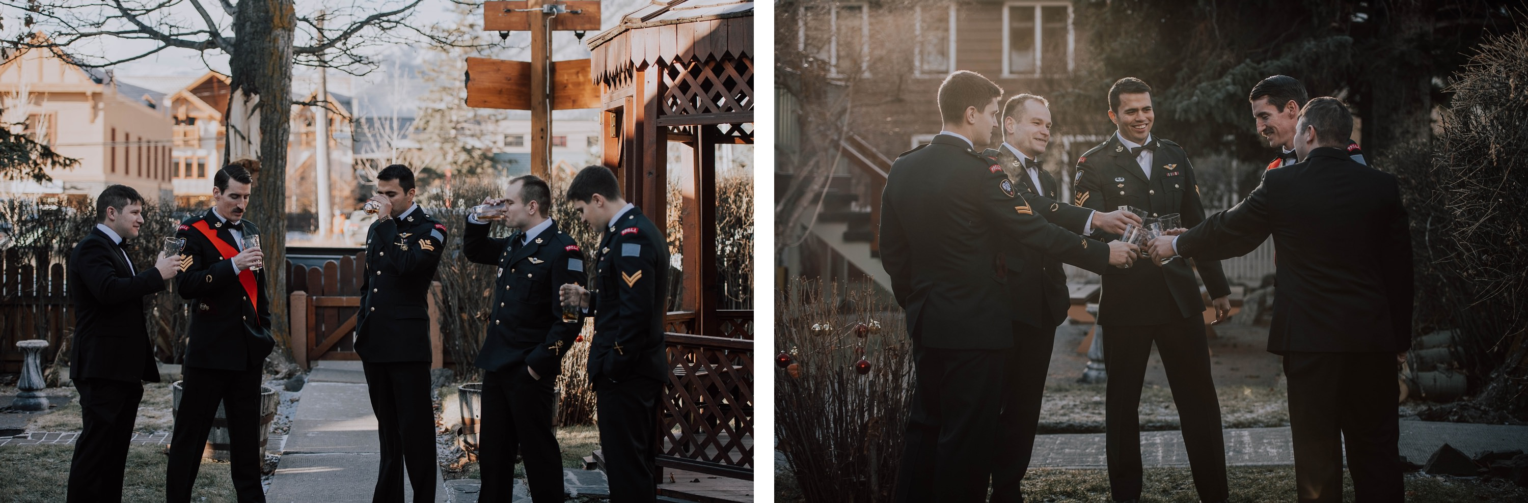 Groom and groomsmen getting ready for wedding in Canadian army formals