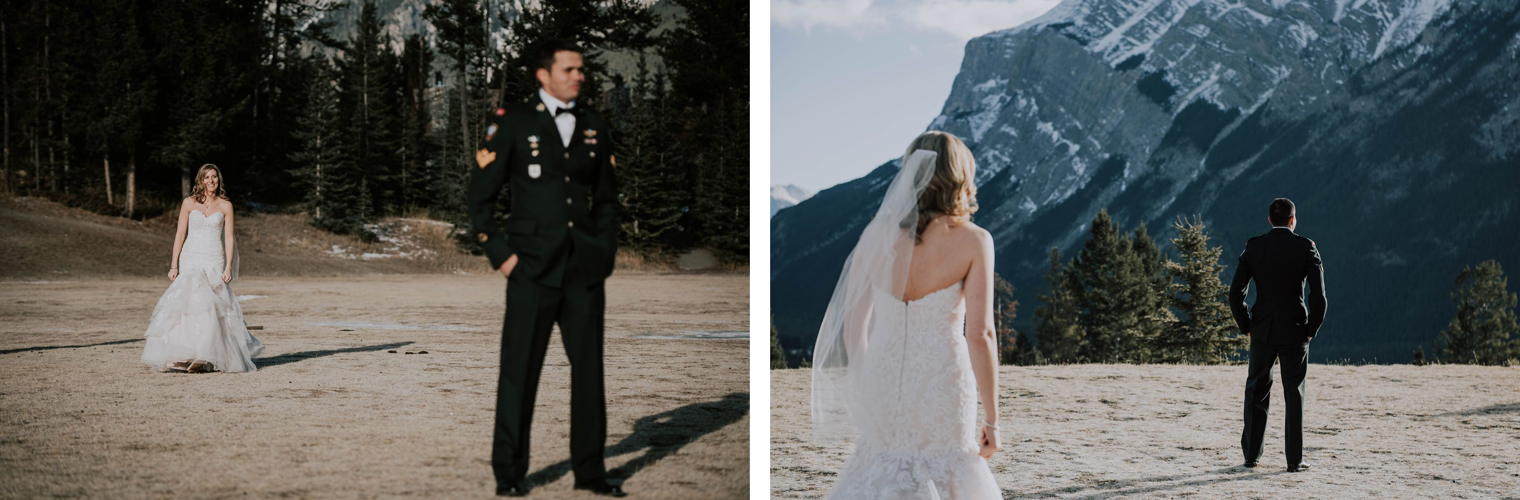first look between bride and groom in Banff winter wedding