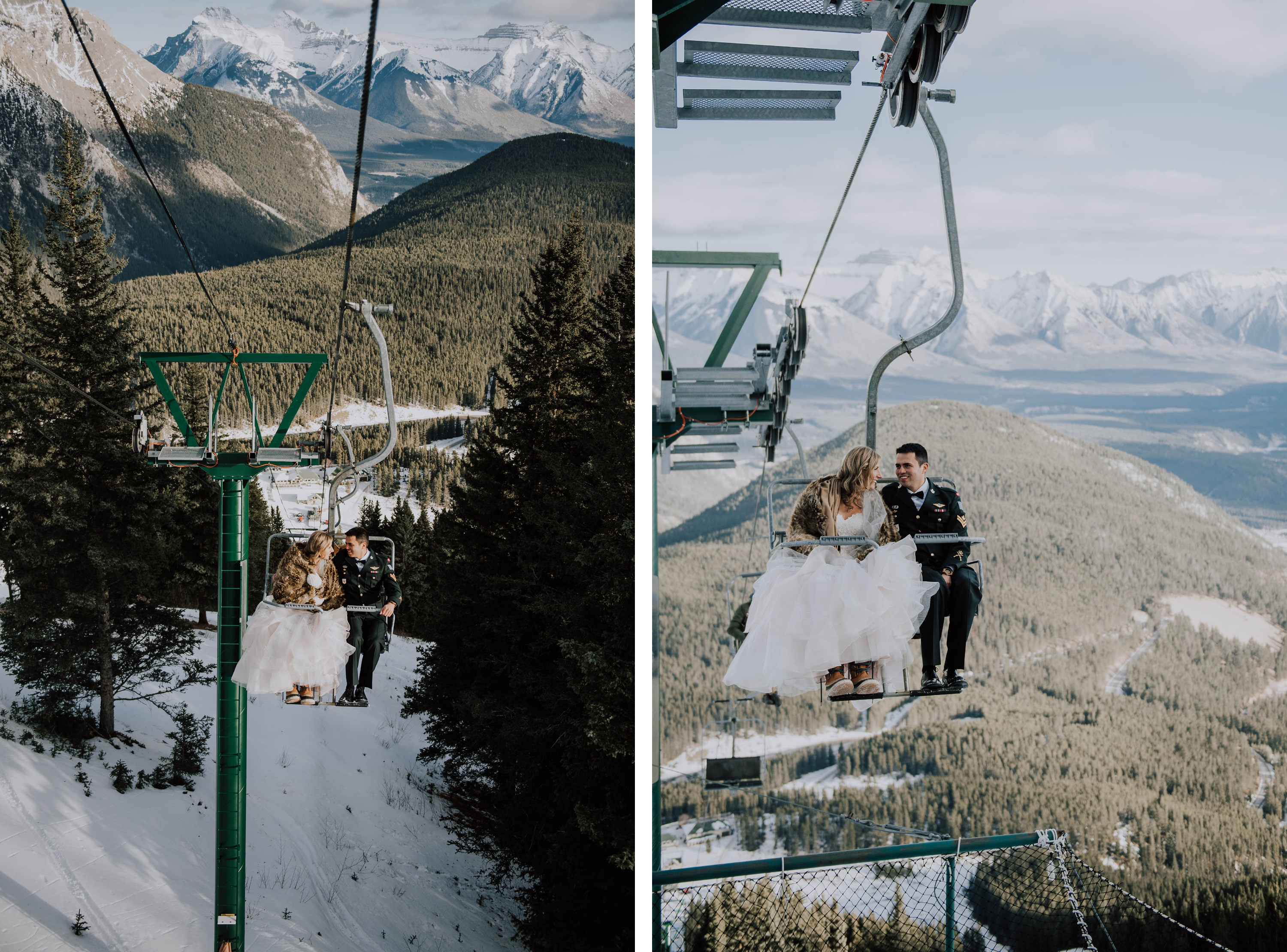 bride and groom ride the chairlift at Norquay wedding in the winter
