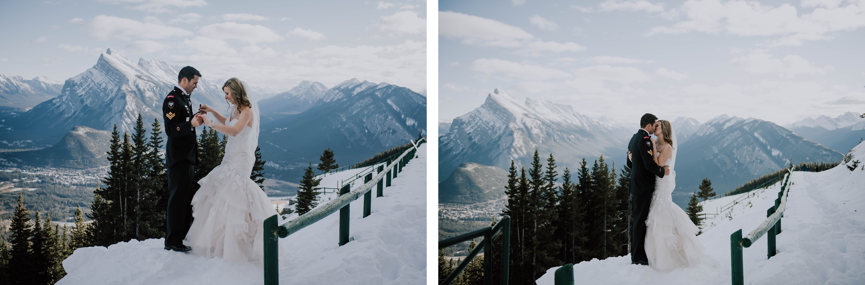 bride and groom on the top of mount Norquay in winter wedding