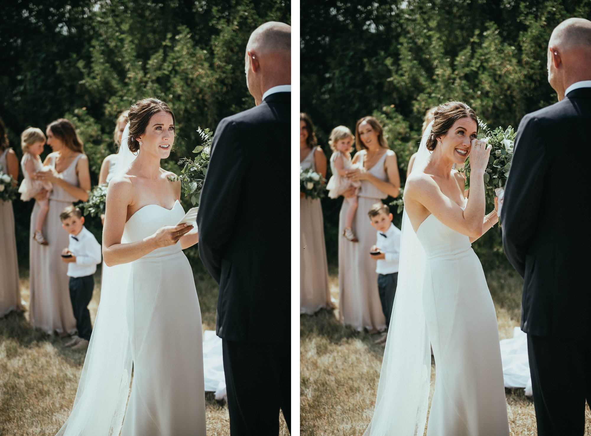 bride crying during vows in farm ceremony