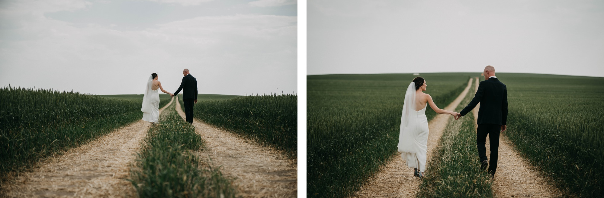bride and groom walking through farmers field in bridal portraits during farm wedding
