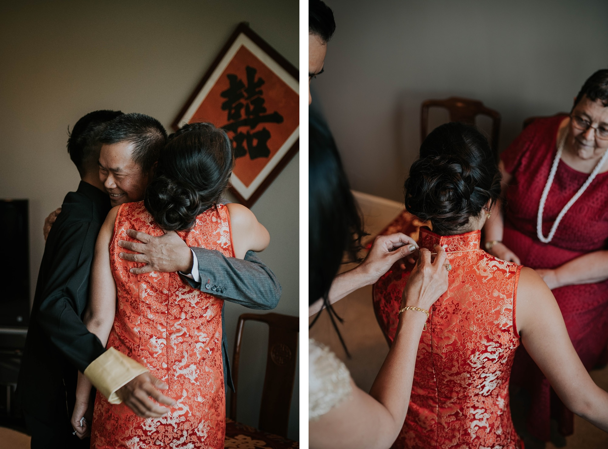bride and groom at traditional tea ceremony at willow lane barn wedding