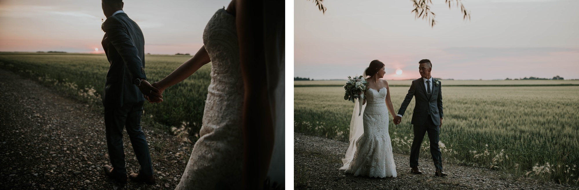 bride and groom for bridal portraits at willow lane barn wedding in olds alberta