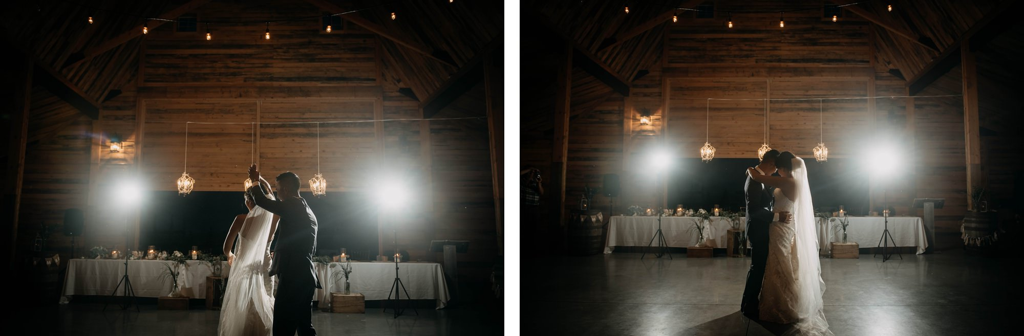 first dance bride and groom in willow lane barn wedding in olds alberta
