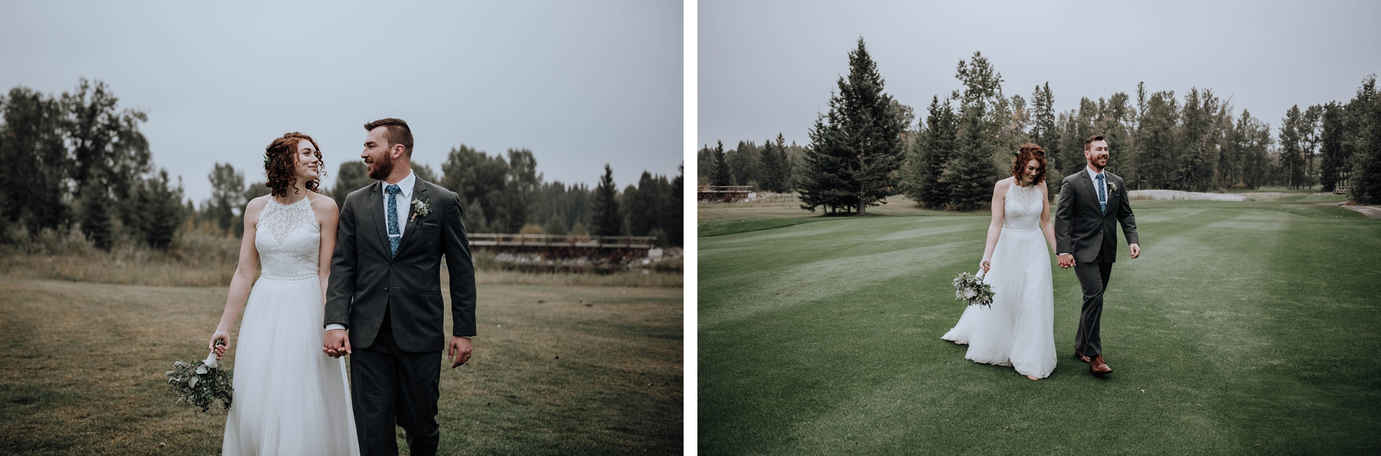 fun shots of bridal party at Calgary golf course and country club in the fall in Calgary
