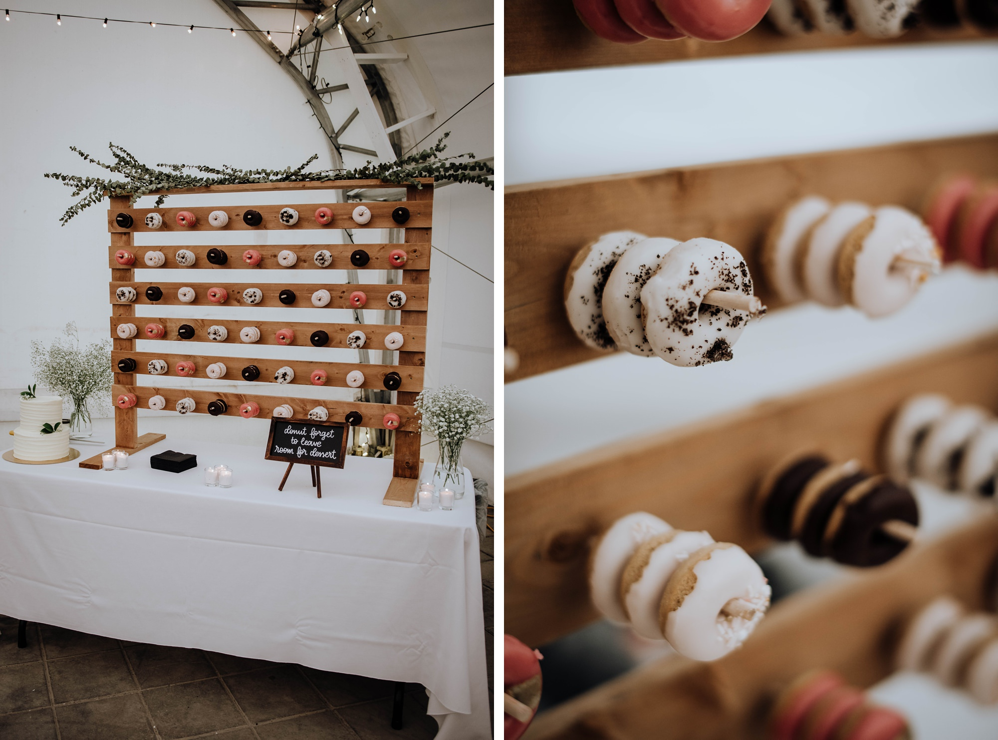 donut wall for desert table at fun and romantic wedding at Calgary golf course wedding