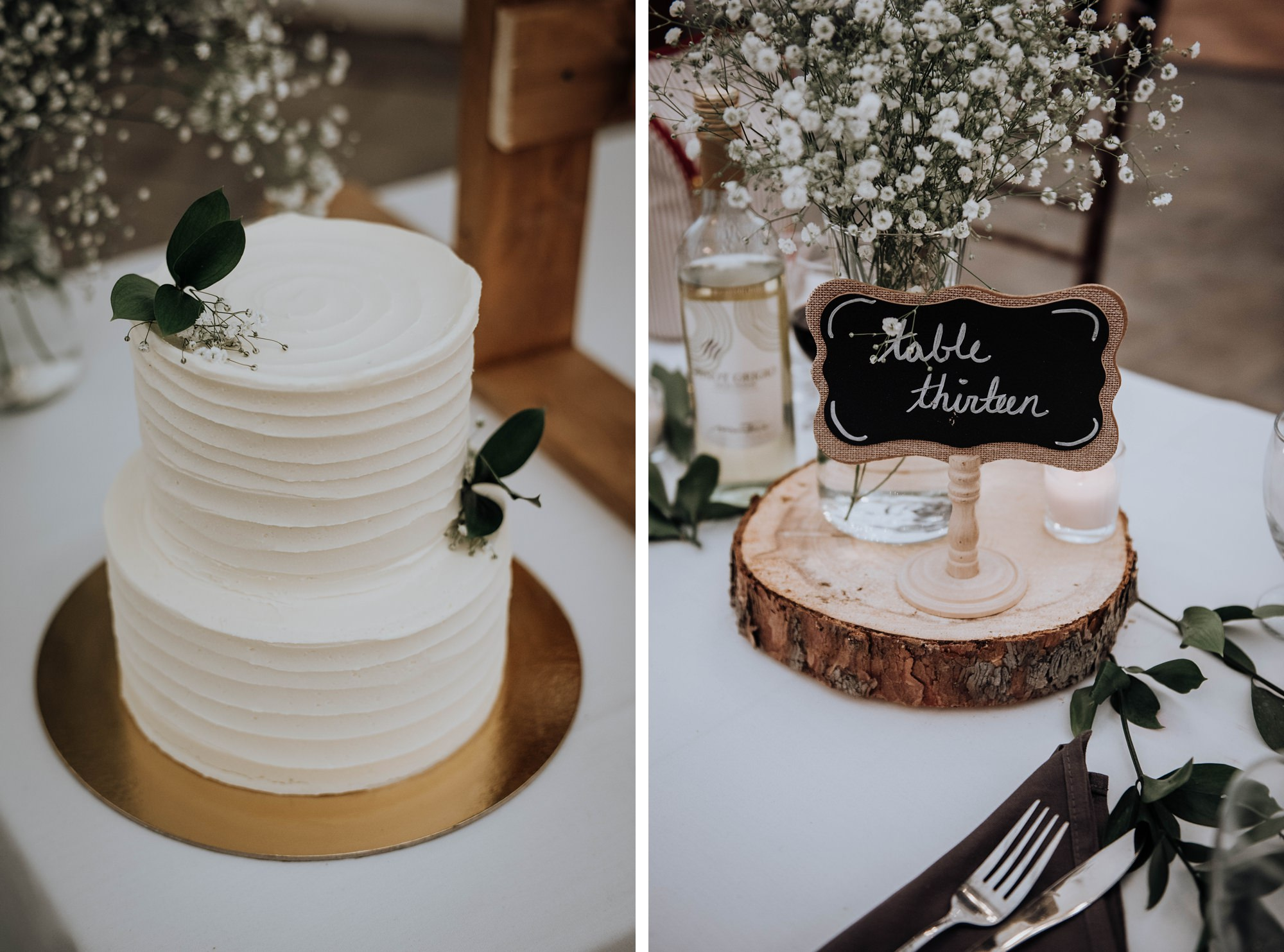 beautiful and simple wedding cake at Indi wedding at a Calgary golf club wedding