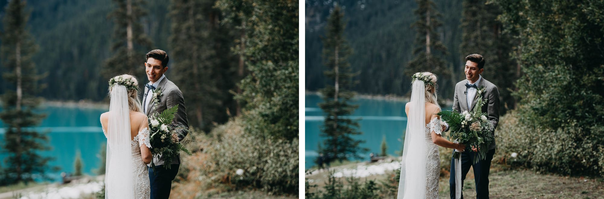 first look between boho couple in moody mountain wedding at lake louise