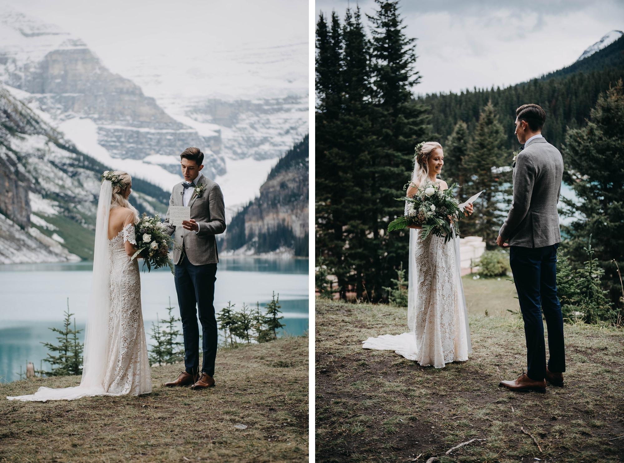 vow exchange at lake louise elopement