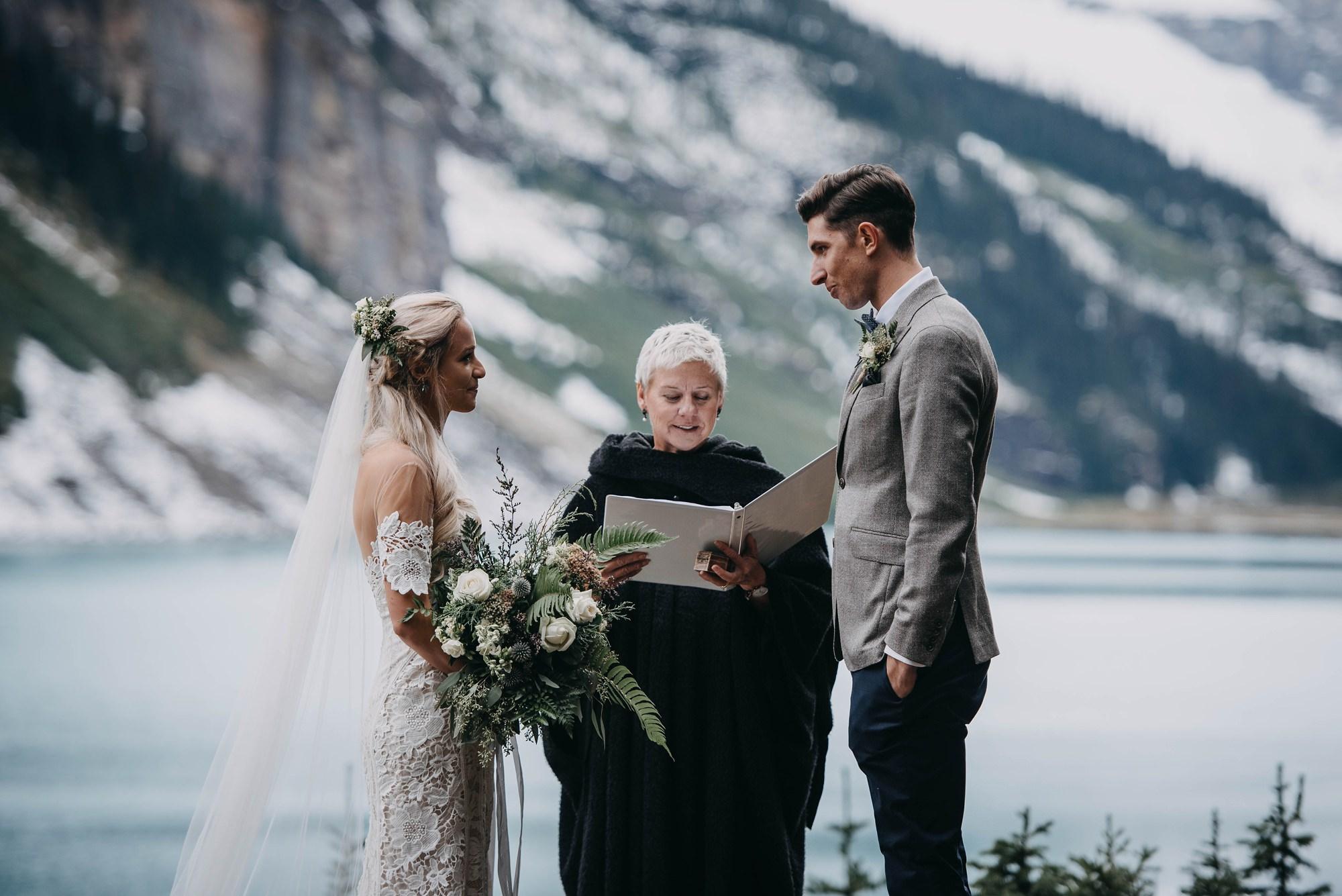 Intimate boho lake louise wedding ceremony