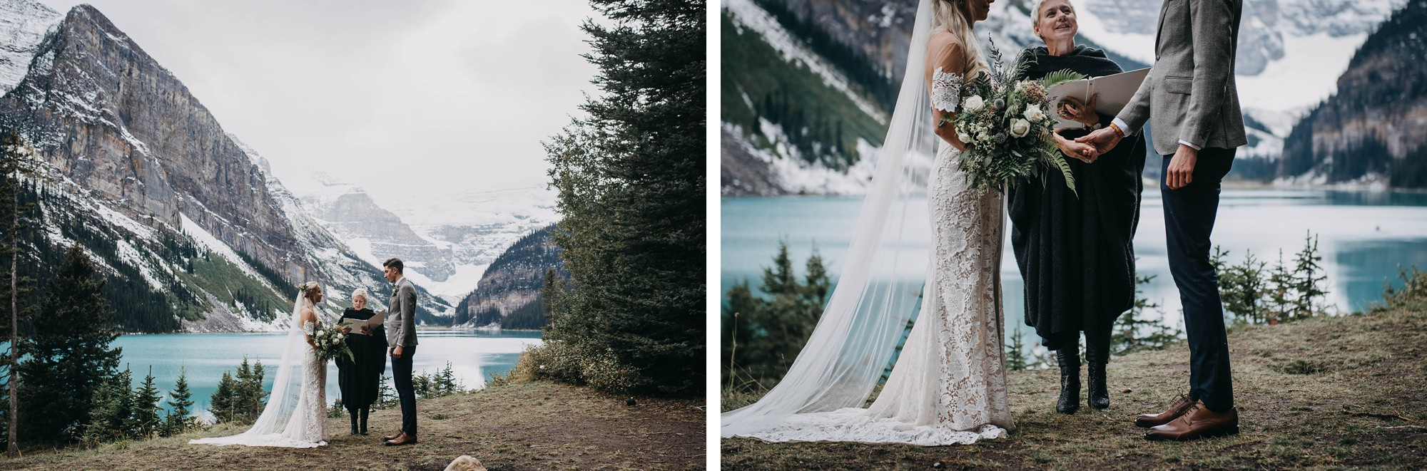 Intimate boho wedding captured at Lake Louise in the Canadian Rockies by Calgary Wedding Photographer Terry Photo Co,