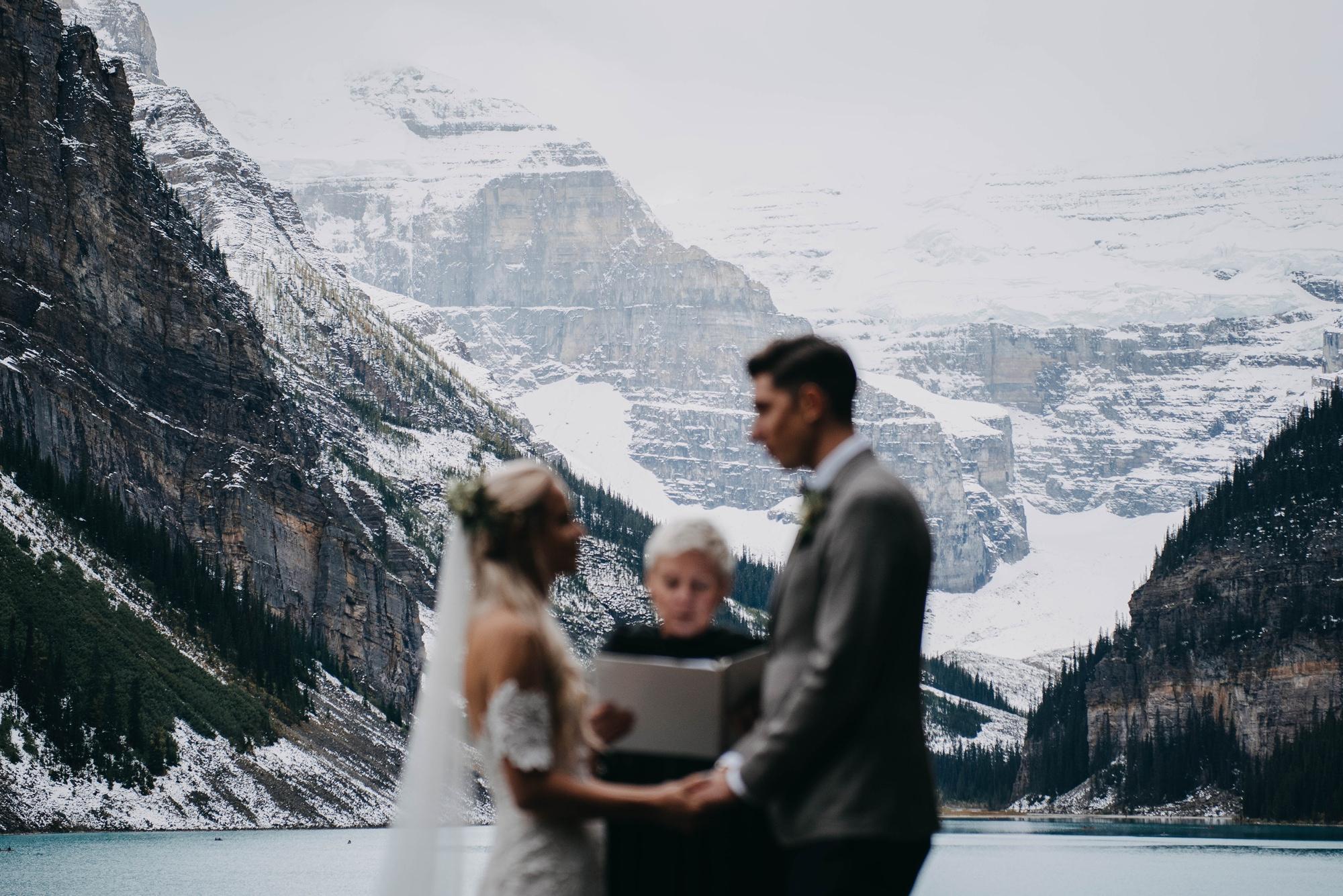 intimate boho wedding ceremony at lake louise