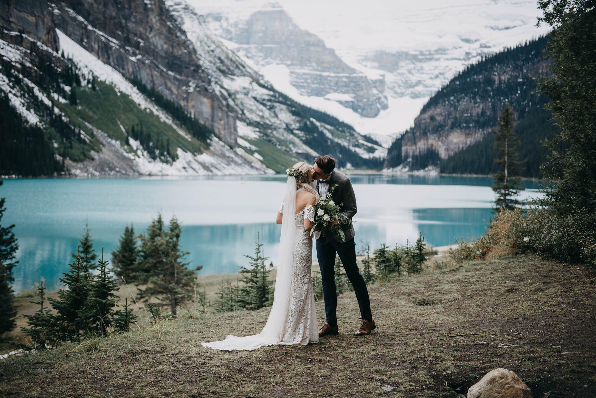 Intimate boho wedding captured at Lake Louise elopement at banff national park