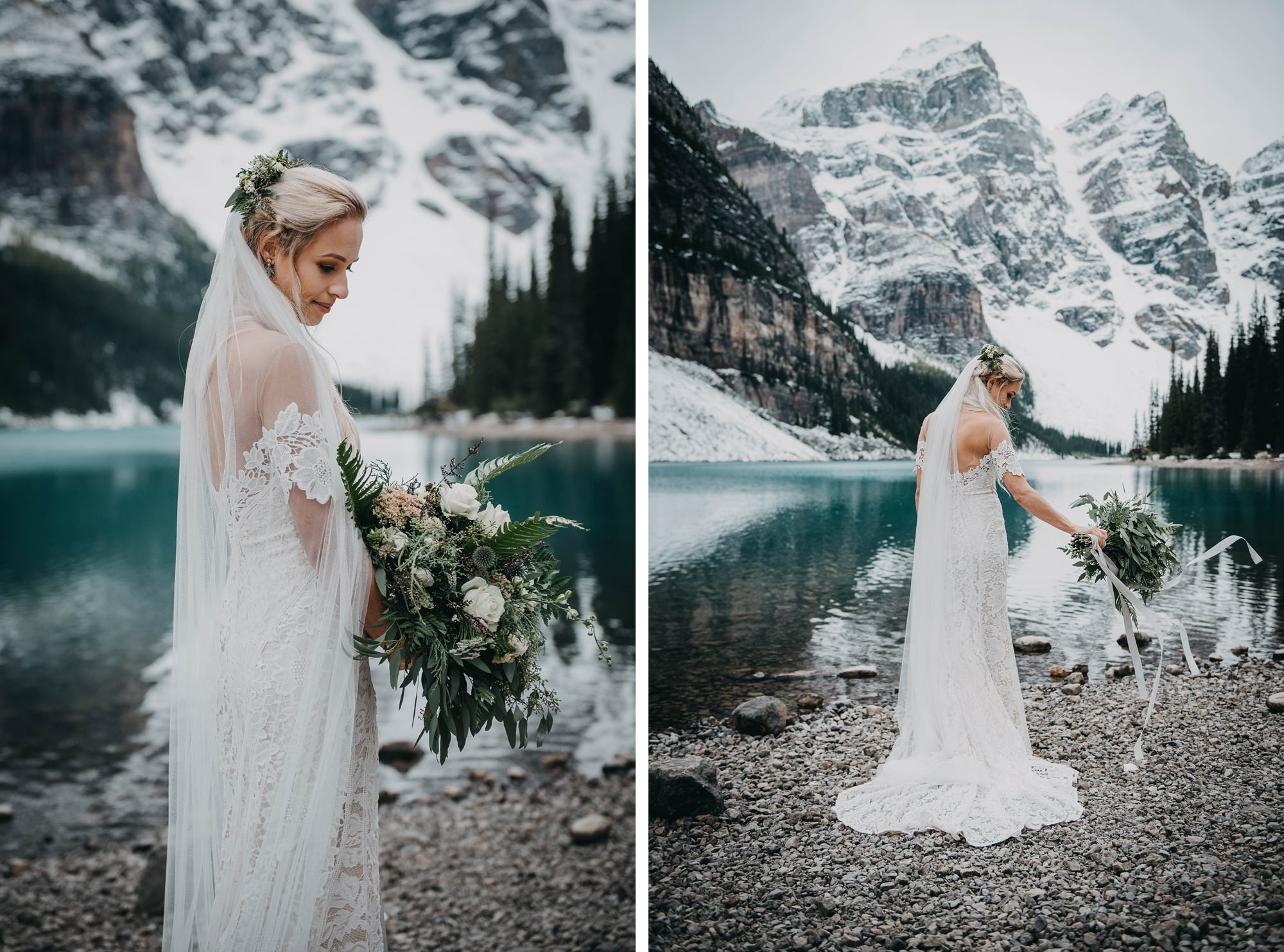 boho styled mountain elopement at moraine lake captured by destination wedding photographer Terry Photo Co.