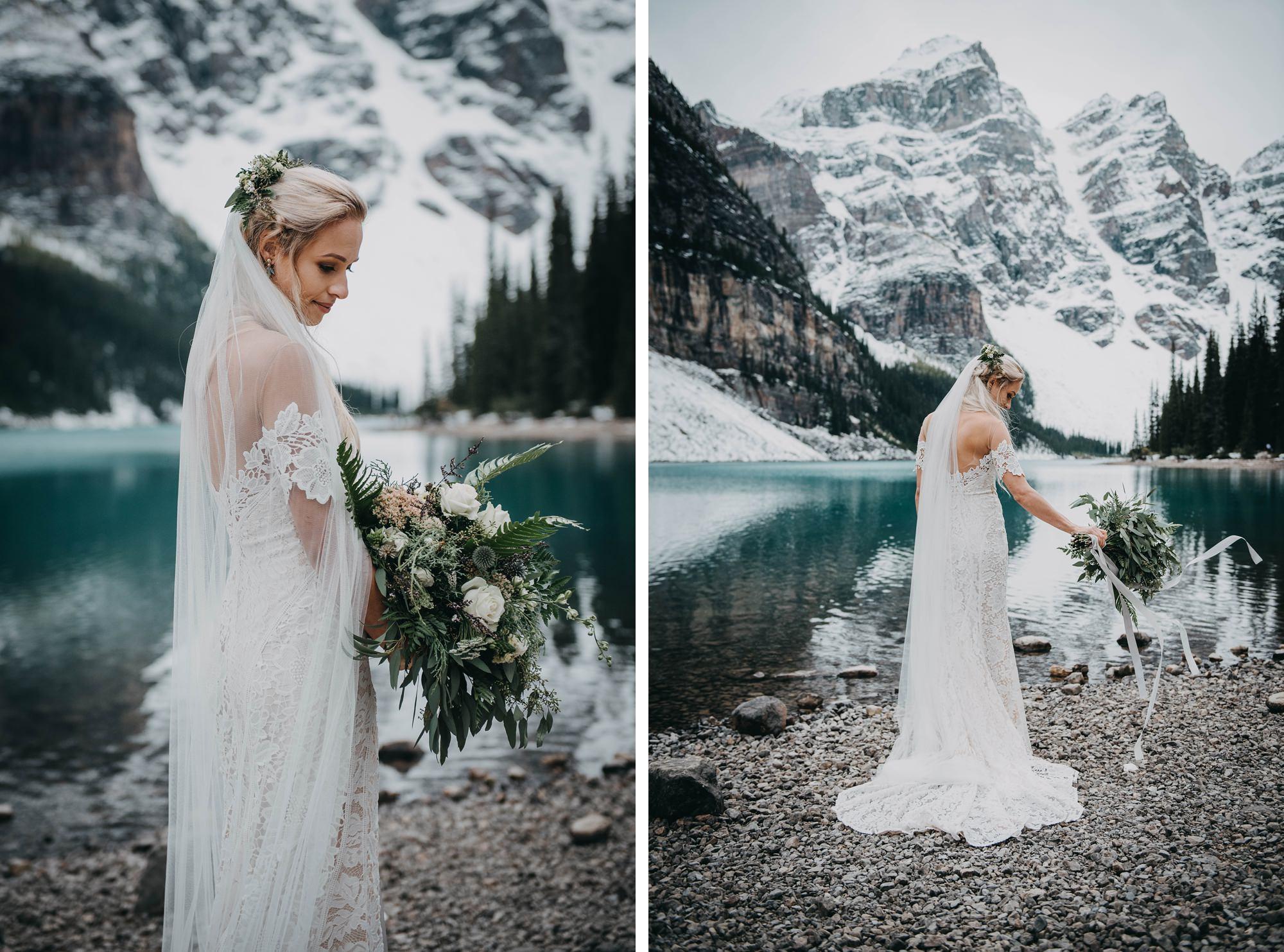 boho bride and moraine lake elopement