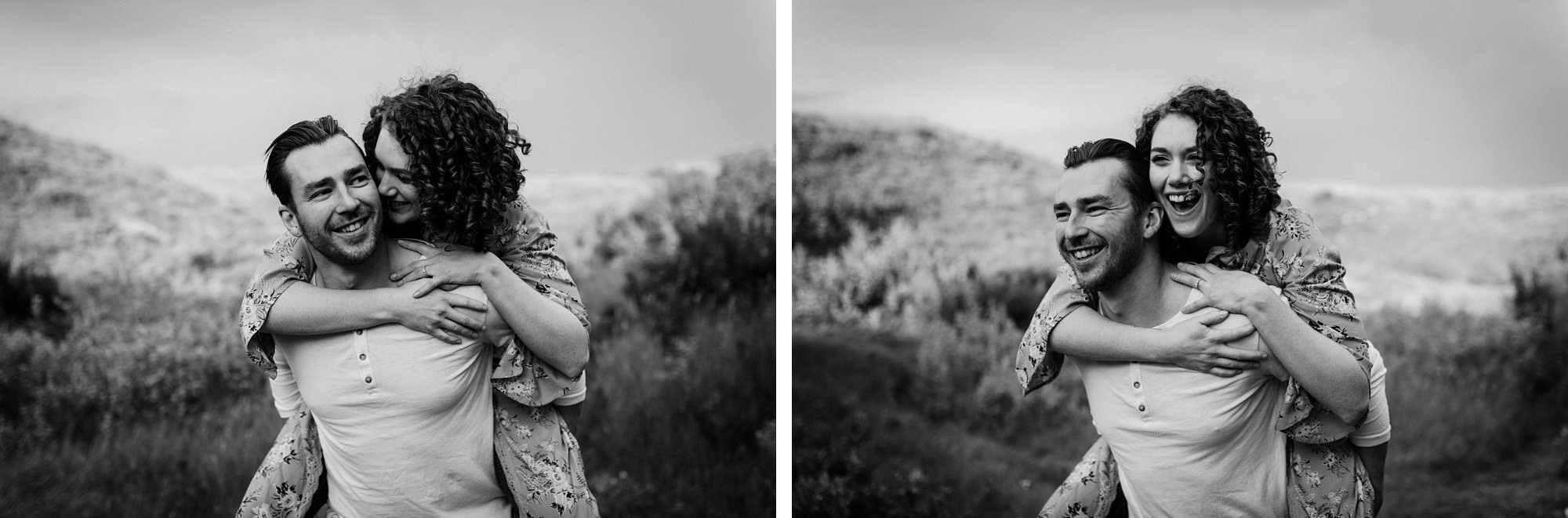 engagement session photos of boho stylish couple in a field at big hill springs provincial park in Calgary