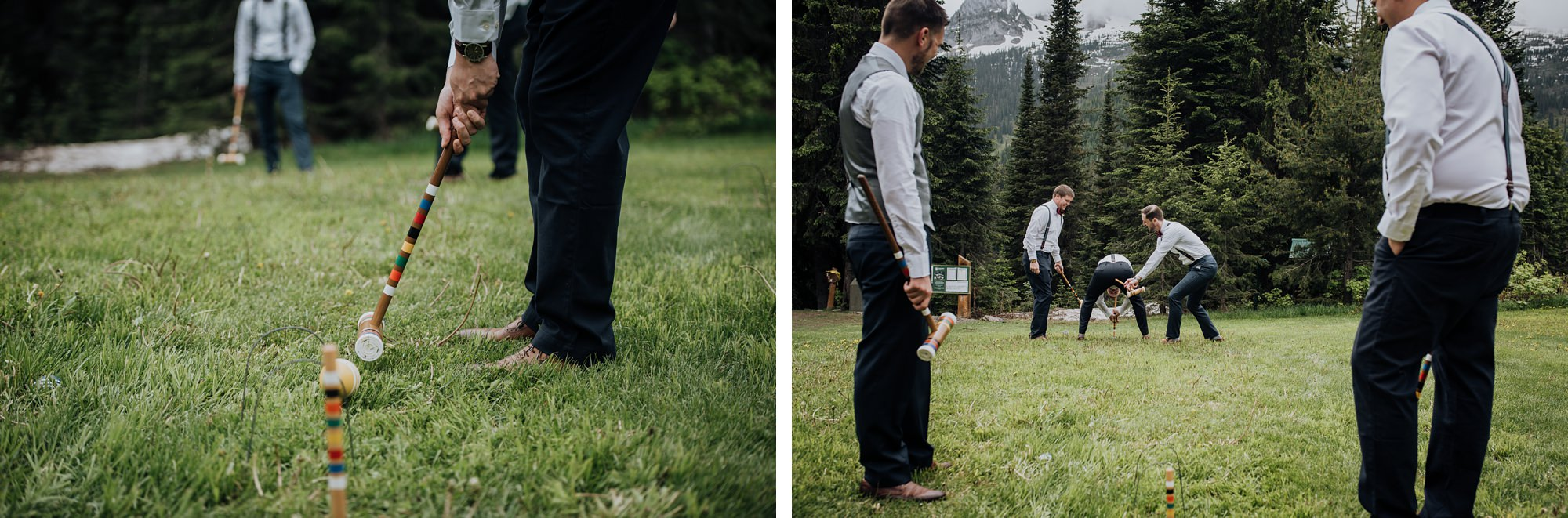 groom and groomsmen playing games at mountain wedding