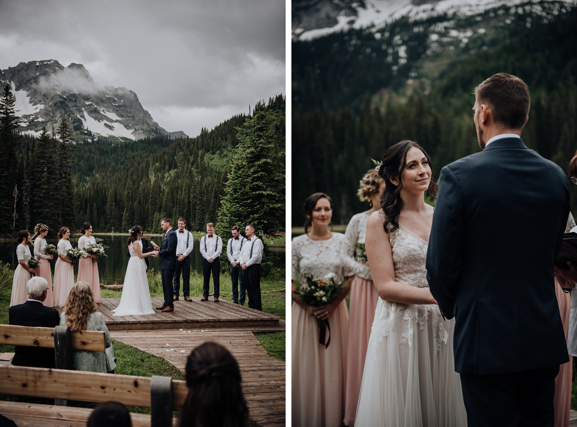 bride and groom during mountain ceremony in island lake lodge wedding in fernie bc