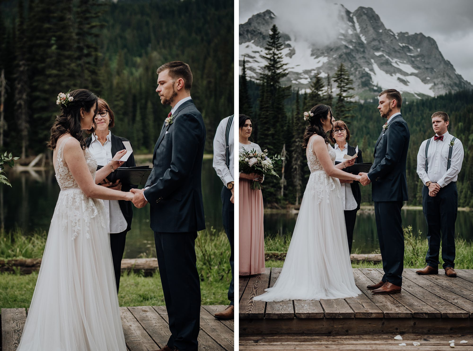 bride and groom kiss during island lake lodge wedding in fernie bc