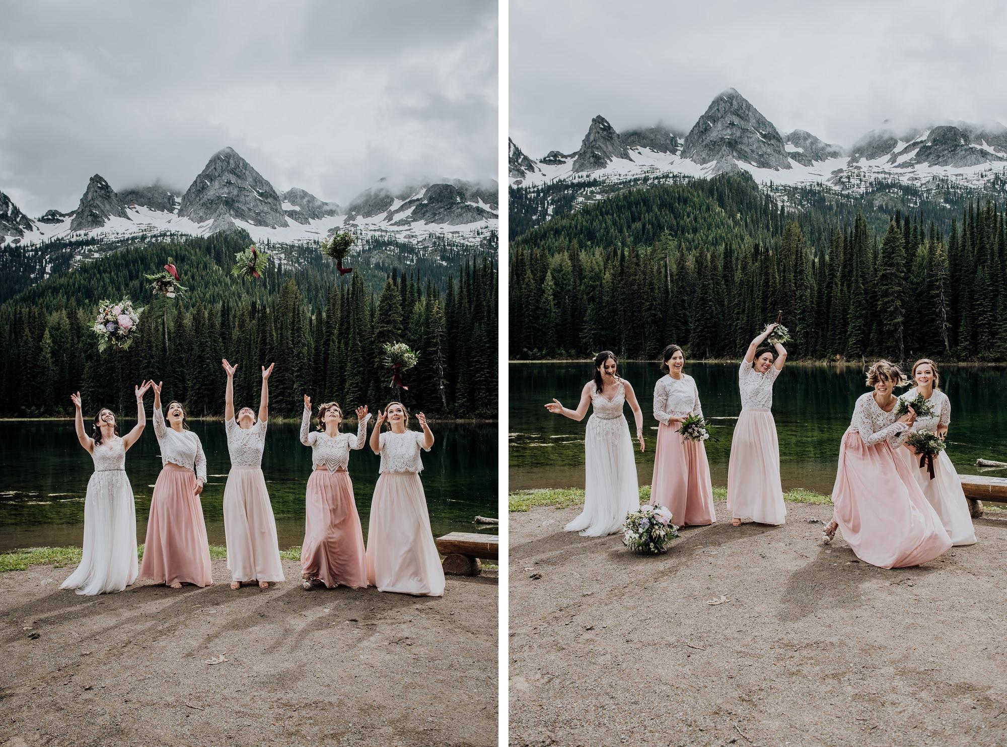 stylish pink bridesmaid dresses