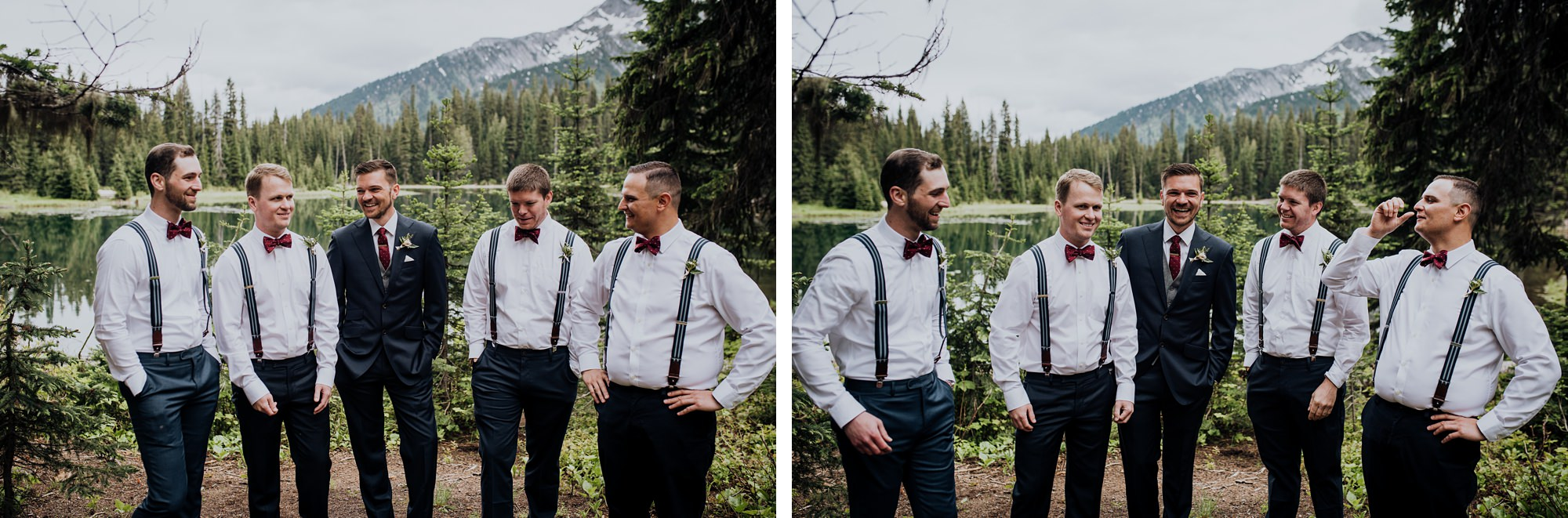 bride and groom at lake during modern classic island lake lodge wedding