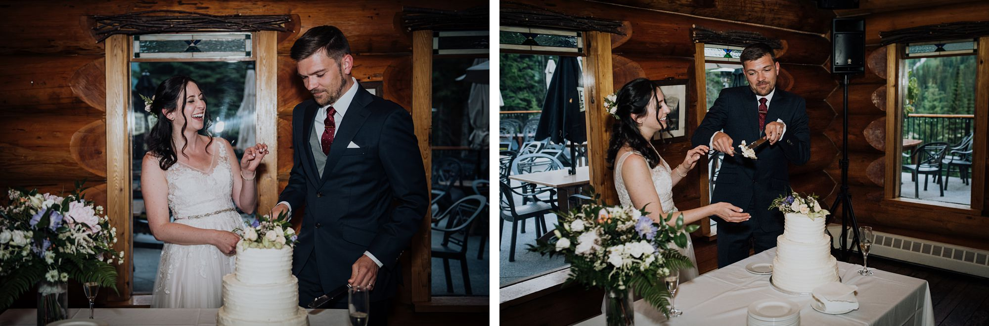 Bride and groom cut their wedding cake in log cabin at classic and modern mountain wedding at island lake lodge wedding
