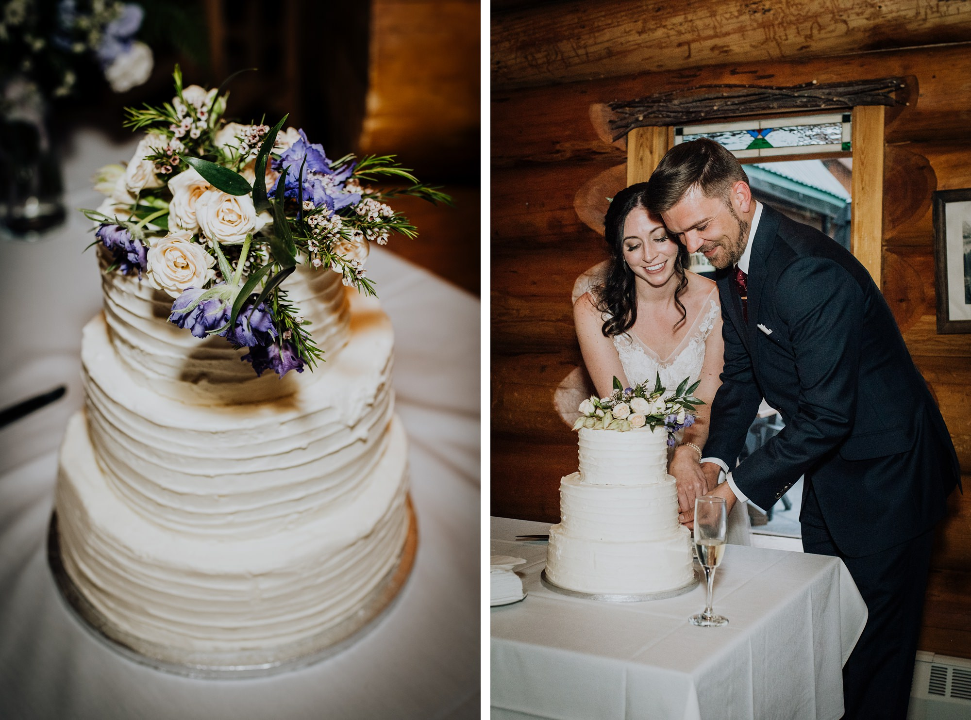 Bride and groom cut their wedding cake in log cabin at classic and modern mountain wedding