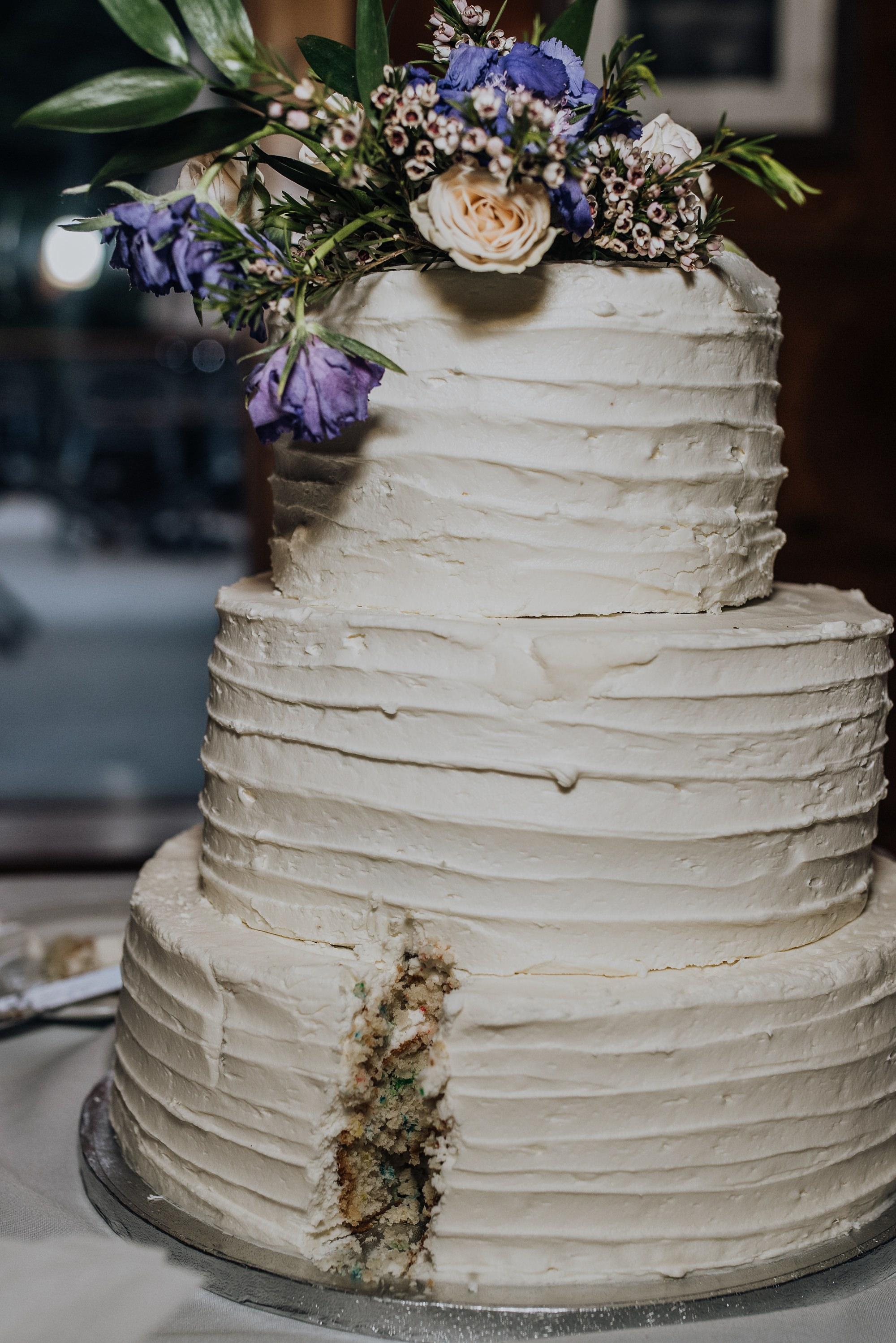 classic wedding cake already cut