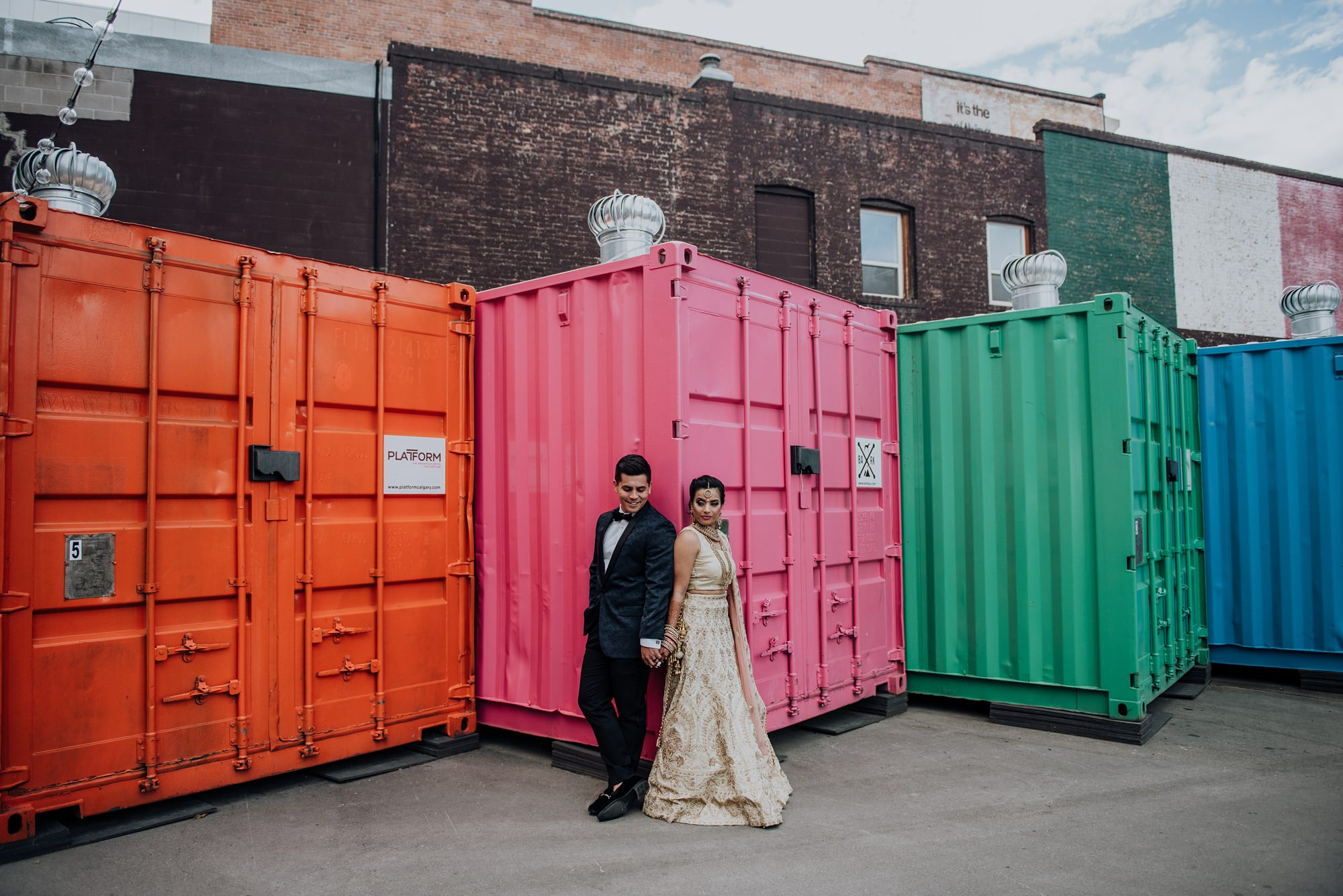 indian bride and groom in east village in calgary