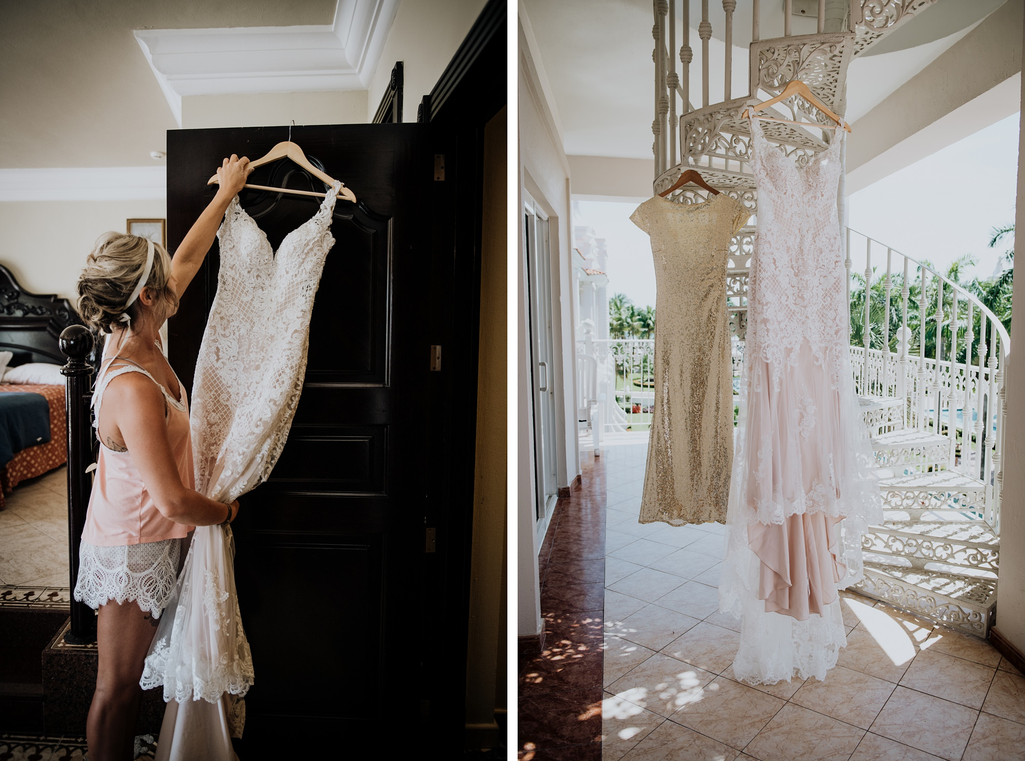 bride hanging wedding dress playa del carmen wedding
