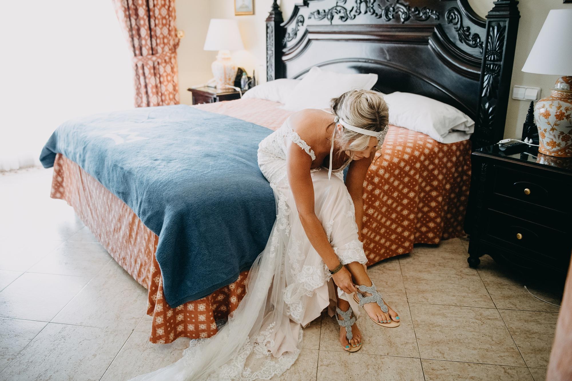bride getting ready at hotel playa del carmen wedding