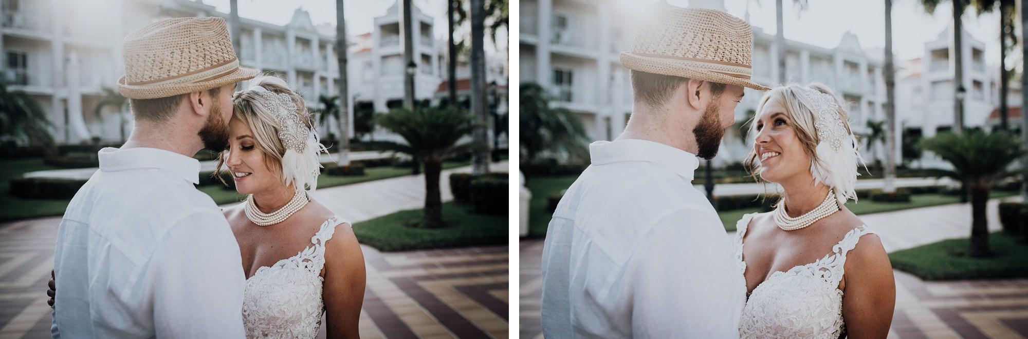 bride and groom embracing mexico destination wedding